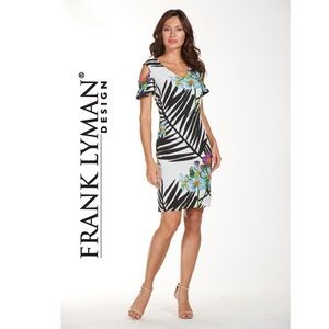 9405fab8d5c17 NWT Frank Lyman cold-shoulder tropical print dress